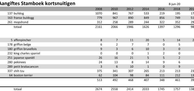 De populariteit van de kortsnuitige rashonden is afgelopen 11 jaar gedaald i.p.v. gestegen!